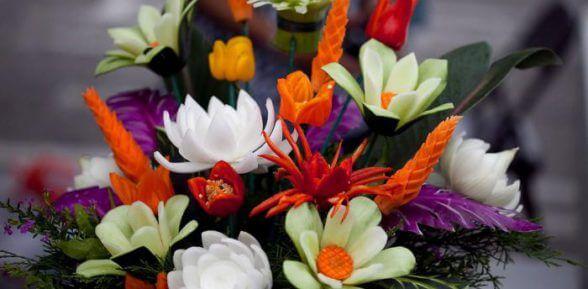 Как самостоятельно сделать цветы из разных овощей? 9 пошаговых мастер-классов