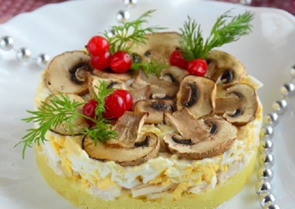 рецепт салат царский с курицей и грибами рецепт