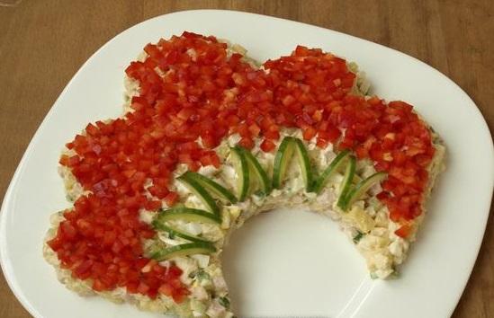 Салат русская красавица из курицы рецепт с фото пошаговый