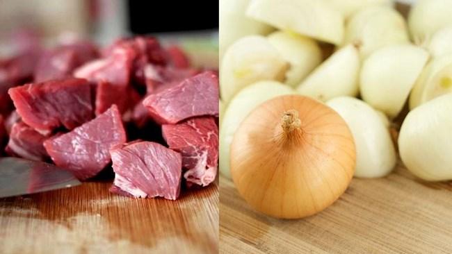 мясо и лук