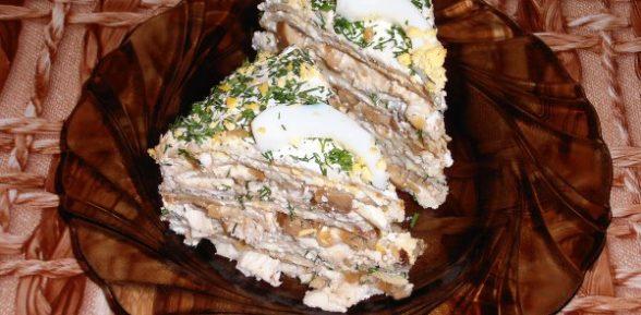 Блинный торт с курицей