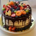 украшение фруктами торта
