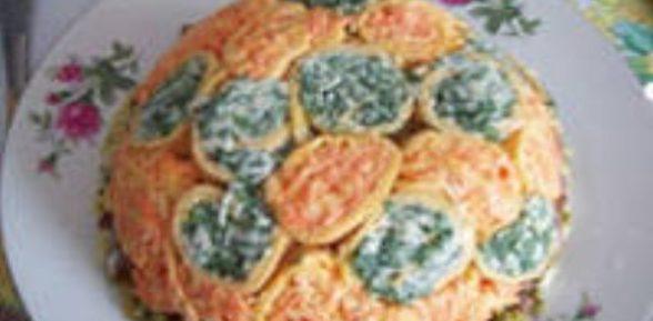 Салат с блинами из яиц