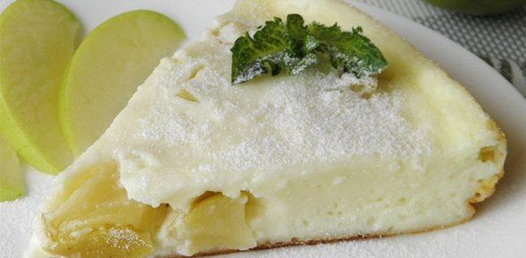 Творожная запеканка с яблоками в пароварке
