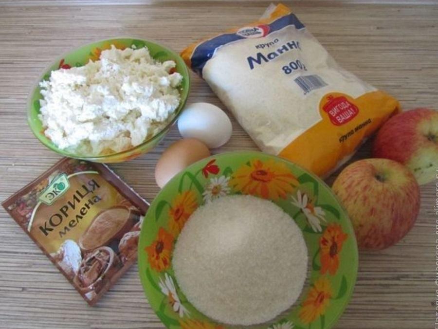 Ингредиенты для творожника с яблоками