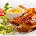 Жареная курица с чесноком