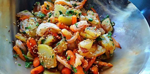 Картошка с креветками