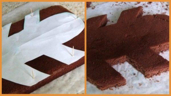 вырезать из бисквита основу для торта