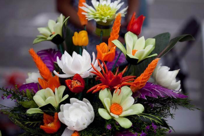 Цветы из овощей своими руками: фото поделок и пошаговое руководство по их изготовлению