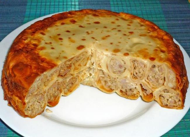 блинный торт с мясом