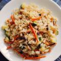 Грибы шиитаке с рисом и овощами
