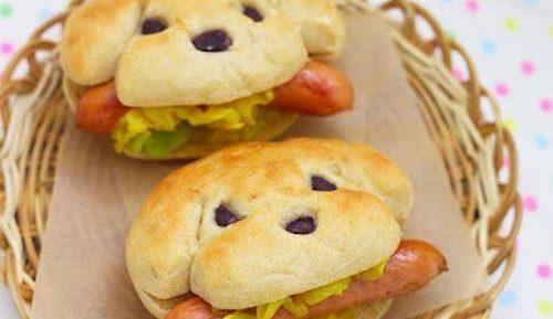 Детский забавный бутерброд с сосиской