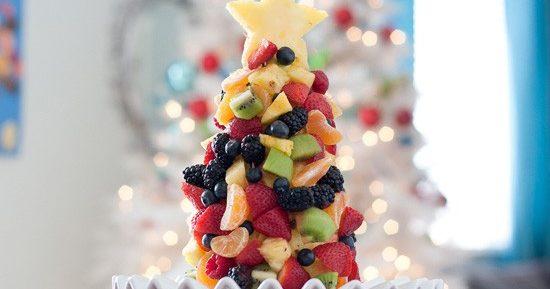 Как сделать елочку из фруктов?