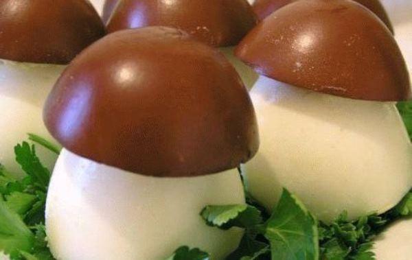 фаршированные грибы-яйца