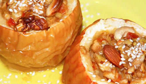 Яблоки запеченные с медом и орехами
