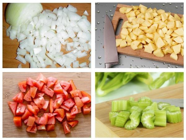 нарезать кубиками овощи