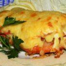 Красная рыба с грибами и сыром