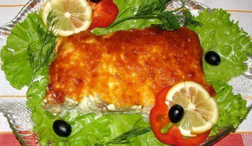 Рыбное филе запеченное с сыром