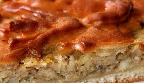 Пирог с рыбными консервами из дрожжевого теста в аэрогриле
