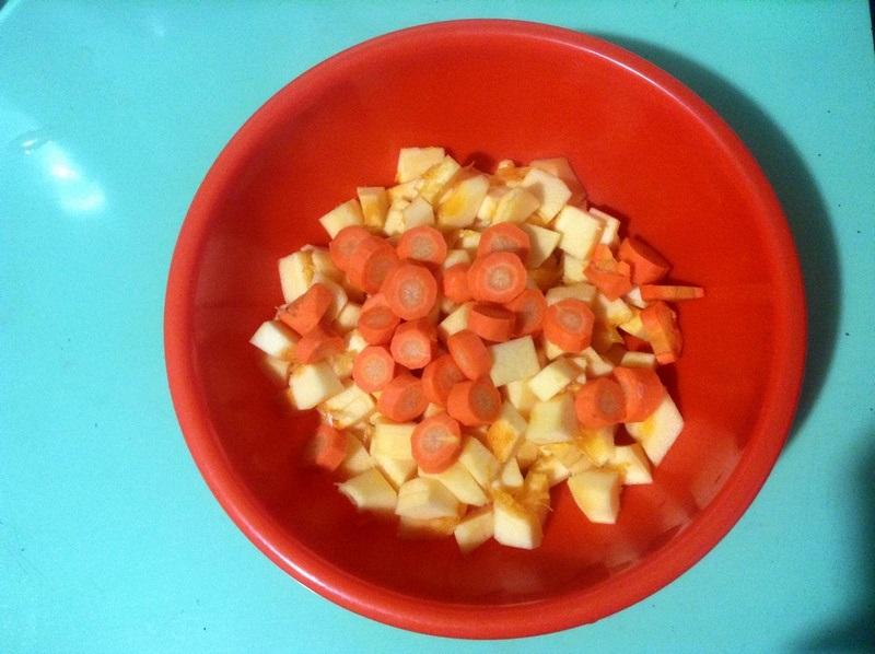 Тыква и морковь средними брусочками