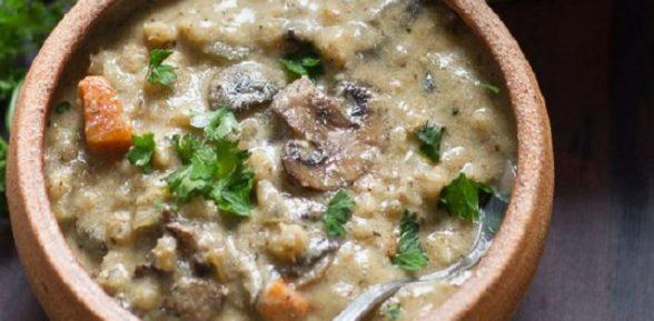 Малокалорийный суп с овсянкой и шампиньонами