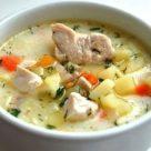 Сырный суп с курицей и картофелем