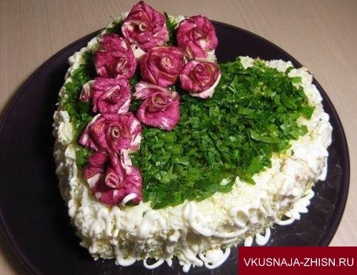 Салат Цветущая любовь с кальмарами