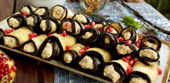 Рулетики из баклажанов с чесноком и орехами