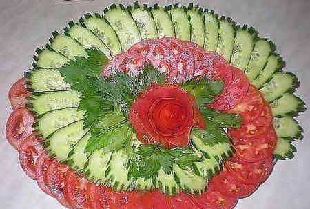 овощная нарезка в виде веера