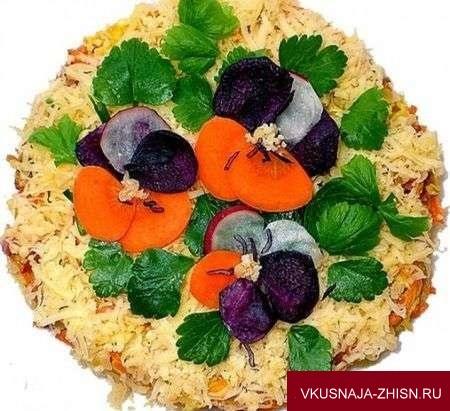 салат с цветами из овощей