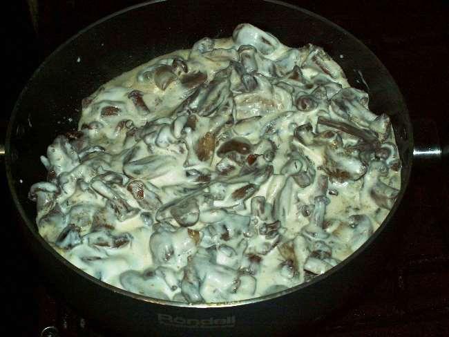 протушить грибы с луком, курицей и сметаной