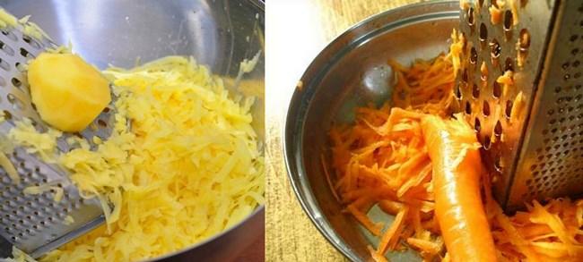 вареные картофель и морковь натереть на терке