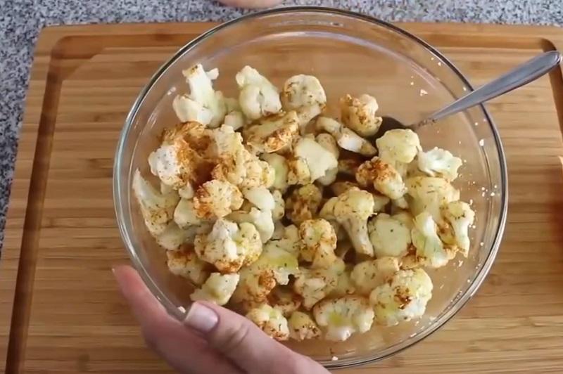 Приготовление цветной капусты с горчицей и карри