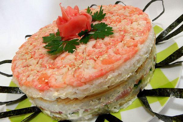 готовый салат суши