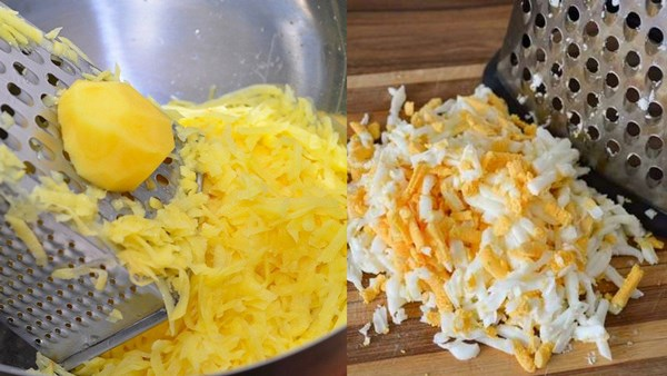 картофель и яйца натереть на терке