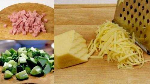 нарезать ветчину и огурцы, натереть сыр