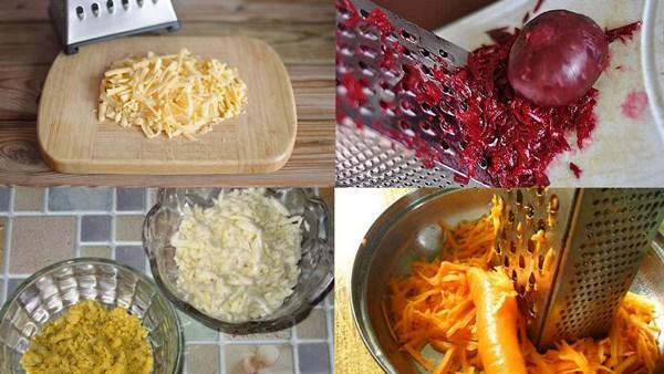 натереть на терке сыр, свеклу, морковь и яйца