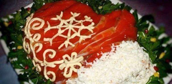 Новогодний салат Рукавица Деда Мороза