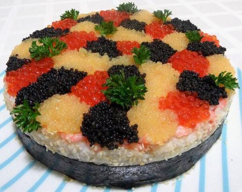 суши-торт с икрой
