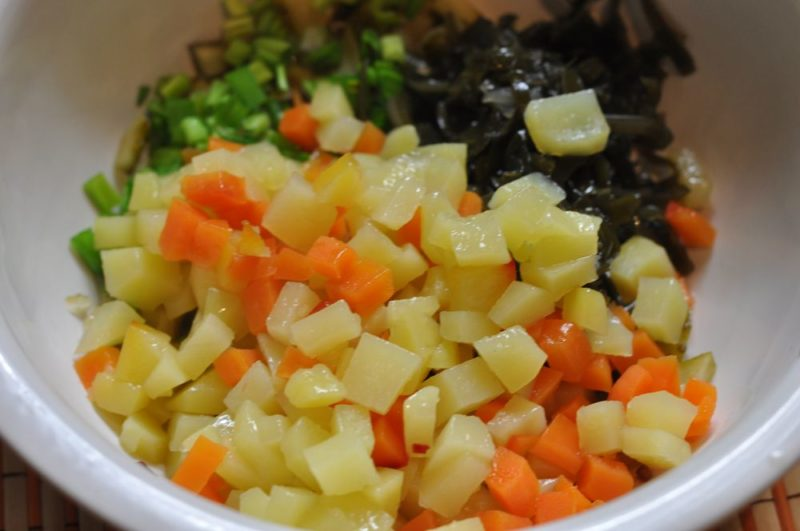 Приготовление винегрета из морской капусты