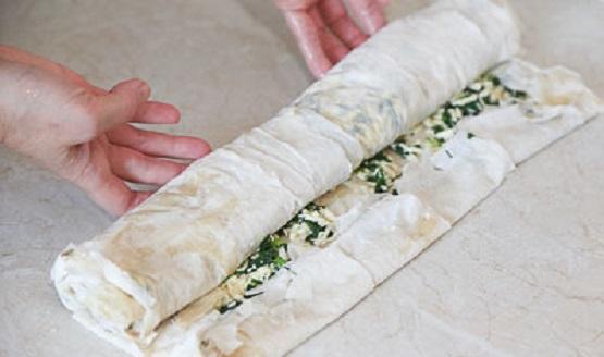 Приготовление штруделя со шпинатом