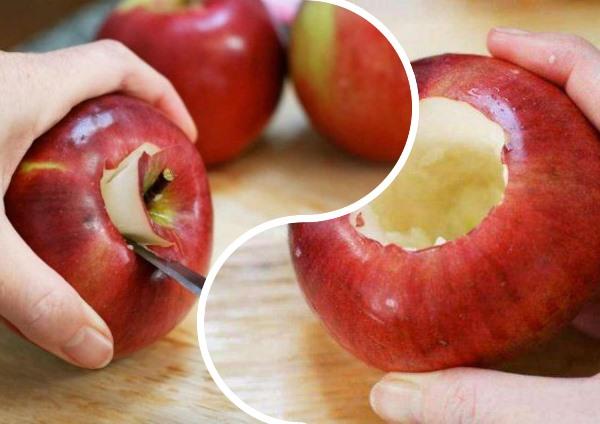 вырезать сердцевину яблока