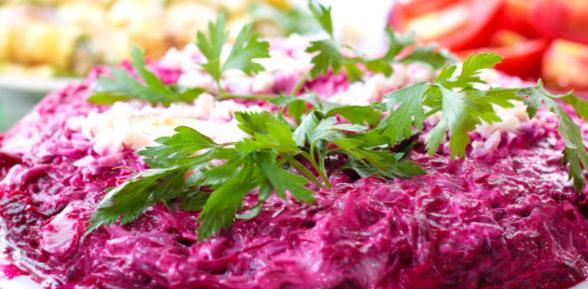 Салат печень под шубой