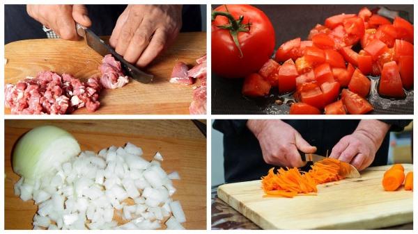 нарезать мясо и овощи