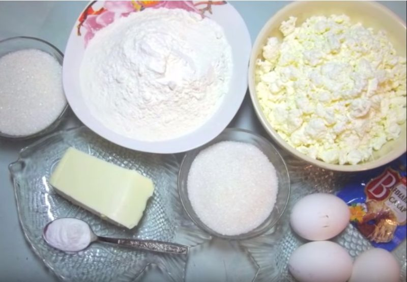 Ингредиенты для пирога из творога