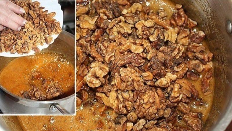 Добавить орехи в мед