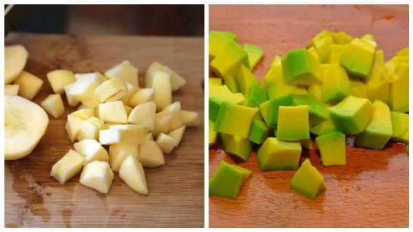 нарезать яблоко и авокадо