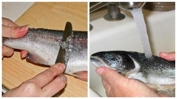 почистить и промыть рыбу