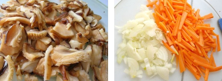 Подготовить грибы и лук с морковью
