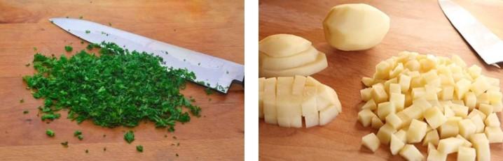 Нарезать зелень и картофель